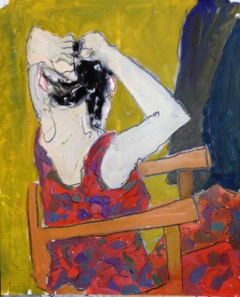 """Seated Woman Fixing Her Hair, oil on paper, 14 x 17"""""""