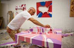 Randy Shull working in his Pink Dog Creative studio